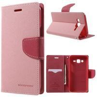 Diary štýlové peňaženkové puzdro pre Samsung Galaxy J5 -  ružové