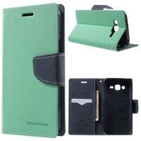 Diary štýlové peňaženkové puzdro pre Samsung Galaxy J5 -  azúrové