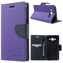 Diary štýlové peňaženkové puzdro pre Samsung Galaxy J5 -  fialové