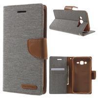 Luxury textilné/pu kožené puzdro pre Samsung Galaxy J5 - šedé