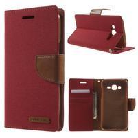 Luxury textilné/pu kožené puzdro pre Samsung Galaxy J5 - červené