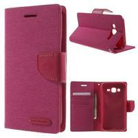 Luxury textilní/pu kožené puzdro na Samsung Galaxy J5 - rose