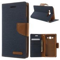 Luxury textilné/pu kožené puzdro pre Samsung Galaxy J5 -  tmavomodré