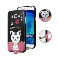 Gélový obal s mačičkou Domi s koženkovým chrbtom pre Samsung Galaxy J5 - čierny