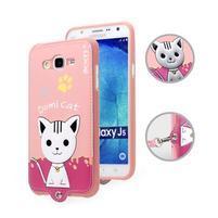 Gélový obal s mačičkou Domi s koženkovým chrbtom pre Samsung Galaxy J5 - ružové