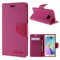 Luxury textilné / koženkové puzdro pre Samsung Galaxy S6 Edge - rose
