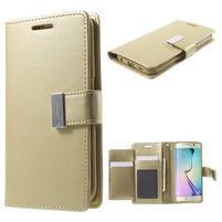 Wallet PU kožené puzdro na Samsung Galaxy S6 Edge G925 - champagne