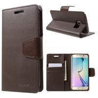 Wallet PU kožené puzdro na Samsung Galaxy S6 Edge G925 -  tmavohnedé