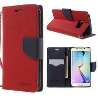 Diary PU kožené puzdro na Samsung Galaxy S6 Edge - červené