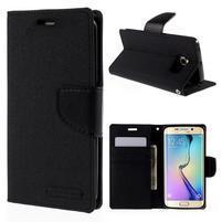 Luxury textilné / koženkové puzdro pre Samsung Galaxy S6 Edge - čierne