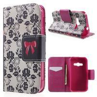 Vzorové peňaženkové puzdro pre Samsung Galaxy Xcover 3 - mašlička