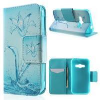 Vzorové peňaženkové puzdro pre Samsung Galaxy Xcover 3 - vodný kvet
