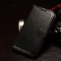 Koženkové peňaženkové puzdro pre Samsung Galaxy Xcover 3 - čierne