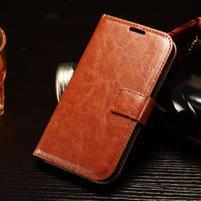 Koženkové peňaženkové puzdro pre Samsung Galaxy Xcover 3 - hnedé