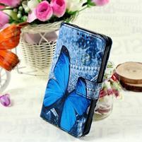 Štýlové peňaženkové puzdro pre Samsung Galaxy Xcover 3 - modrý motýľ