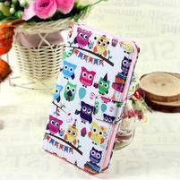 Štýlové peňaženkové puzdro pre Samsung Galaxy Xcover 3 - sovičky