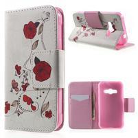 Vzorové peňaženkové puzdro pre Samsung Galaxy Xcover 3 - červené kvety