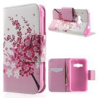 Vzorové peňaženkové puzdro na Samsung Galaxy Xcover 3 - kvitnúca vetvička