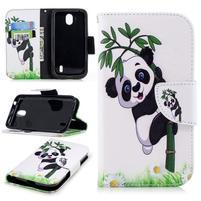 Gloss PU kožené puzdro na mobil Nokia 1 - bambus panda