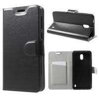 Horse PU kožené peňaženkové puzdro na Nokia 2 - čierne