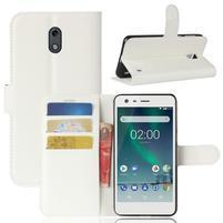 Litchi PU kožené zapínacie puzdro na Nokia 2 - biele