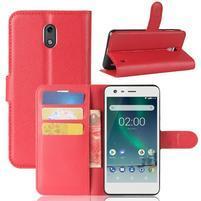 Litchi PU kožené zapínacie puzdro na Nokia 2 - červené