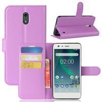 Litchi PU kožené zapínacie puzdro na Nokia 2 - fialové