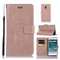 Dream PU kožené flipové puzdro na Nokia 2.1 - ružovozlaté