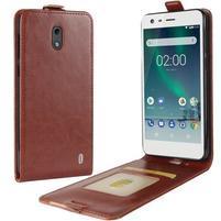 Flipové PU kožené puzdro na Nokia 2 - hnedé