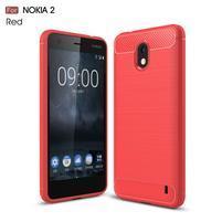 Carbon odolný gélový obal s brúsením na Nokia 2 - červený