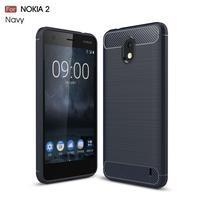 Carbon odolný gélový obal s brúsením na Nokia 2 - tmavomodrý