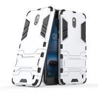 Defender odolný obal so stojančekom na Nokia 2 - strieborný