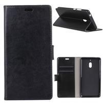 Crazy PU kožené peňaženkové puzdro na mobil Nokia 2.1 - čierne