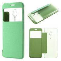 Slim zatváracie puzdro s okienkom na Nokia 230 - zelené