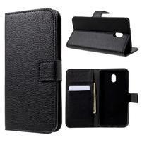 Litchi PU kožené puzdro na Nokia 3 - čierne