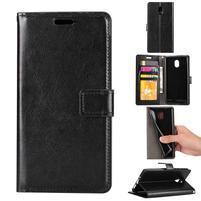 Crazy PU kožené puzdro na mobil Nokia 3 - čierne