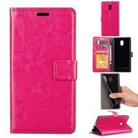 Crazy PU kožené puzdro na mobil Nokia 3 - rose