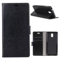 Crazy PU kožené puzdro peňaženkového typu na Nokia 3.1 - čierne