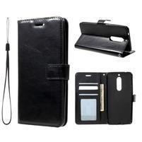 Standy PU kožené knižkové puzdro na Nokia 5 - čierne