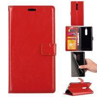 Wallet PU kožené knižkové puzdro na Nokia 5 - červené