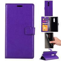 Wallet PU kožené knižkové puzdro na Nokia 5 - fialové