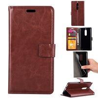Wallet PU kožené knižkové puzdro na Nokia 5 - hnedé