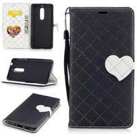 Hearts PU kožené puzdro na Nokia 5 - čierne