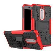 Outdoor odolný hybridný obal na Nokia 5 - červený
