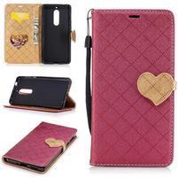 Hearts PU kožené puzdro na Nokia 5 - vínové