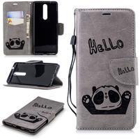 Panda PU kožené puzdro peňaženkového typu na Nokia 5.1 - sivé