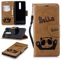 Panda PU kožené puzdro peňaženkového typu na Nokia 5.1 - hnedé