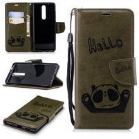 Panda PU kožené puzdro peňaženkového typu na Nokia 5.1 - zelené