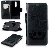 Panda PU kožené puzdro peňaženkového typu na Nokia 5.1 - tmavozelené