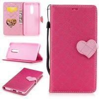 Hearts PU kožené puzdro na Nokia 5 - rose